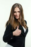 Girl giving thumb up. Happy and beautiful woman giving  thumb up Royalty Free Stock Photos