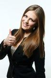Girl giving thumb up Stock Image