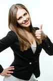 Girl giving thumb up. Happy and beautiful woman giving  thumb up Royalty Free Stock Photography