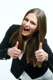 Girl giving thumbs up. Happy and beautiful woman giving  thumbs up Royalty Free Stock Images