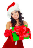 Girl giving us a present Royalty Free Stock Image