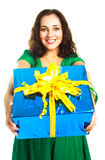 Girl giving us a present Royalty Free Stock Images
