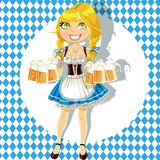 Girl with a glass of beer celebrating Oktoberfest Royalty Free Stock Photo