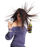 Girl with a glass of champagne. Stock Image