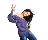 Girl with a glass of champagne. Royalty Free Stock Photography