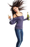 Girl with a glass of champagne. Royalty Free Stock Photos