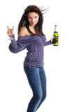 Girl with a glass of champagne. Stock Photos