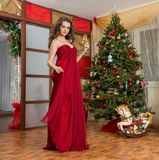 Girl with a glass of champagne on new year's tree Royalty Free Stock Photos