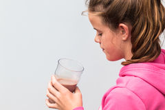 Girl Glass Chocolate Milk Royalty Free Stock Photo
