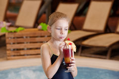 Girl with glass of coctail Royalty Free Stock Image