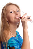 The girl with a glass Royalty Free Stock Image