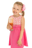 Girl with glass of juice Stock Photos