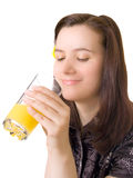 Girl with glass of juice, isolated Stock Photography
