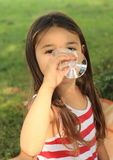 Girl with glass Stock Images