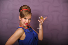 Girl with a glass of martini Royalty Free Stock Photography