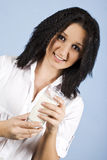 Girl with glass milk Royalty Free Stock Photography