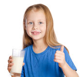 Girl with a glass of milk Stock Image