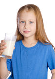 Girl with a glass of milk Royalty Free Stock Images