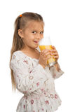 Girl with a Glass of Orange Juice Stock Photo