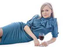 Girl with glass of red wine Stock Photo