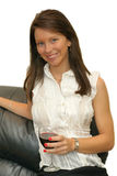 Girl with glass red wine Stock Images
