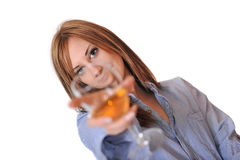 Girl with Glass of White Wine Royalty Free Stock Photo