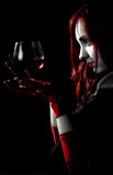 Girl with glass of wine Royalty Free Stock Images