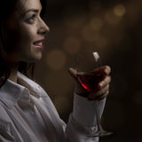 A girl with a glass of wine Stock Photo