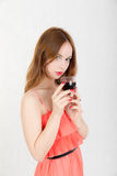 Girl with glass of wine Royalty Free Stock Image