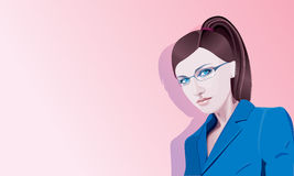 Girl in glasses. Illustration of young girl in glasses Royalty Free Stock Photography