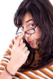 Girl with glasses royalty free stock images