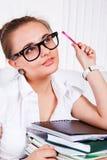 Girl in glasses Stock Images