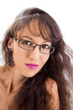 The girl in glasses. A curly pretty girl with earring isolated on white Stock Image