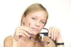 Girl with glasses Stock Image