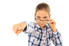 Girl with glasses. Isolated on white Stock Image