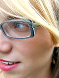 Girl with glasses. Part face of girl with eyeglasses royalty free stock photo