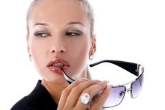 Girl with glasses Stock Images