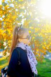 Girl in glasses on an autumn sunny day stock image