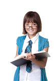 Girl with glasses and a book. Royalty Free Stock Image