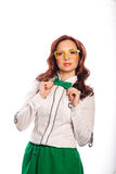 Girl with glasses and bow tie Royalty Free Stock Photography