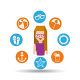 Girl glasses character summer vacation icons set Royalty Free Stock Image