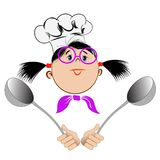 A girl in glasses and a chef`s hat. Holds in her hands big spoons Royalty Free Illustration
