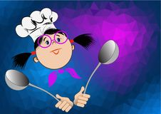 A girl in glasses and a chef`s hat holds in her hands spoons Stock Image