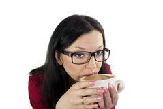 Girl with glasses of coffee drinks Stock Photo
