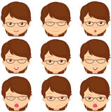 Girl with glasses emotions: joy, surprise, fear, sadness, sorrow Royalty Free Stock Photo