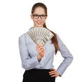 Girl in glasses with a fan of dollars Stock Photos