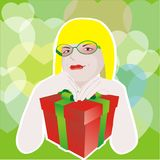 Girl with glasses and with gift box Stock Photo