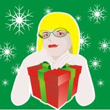 Girl with glasses and with gift box Stock Images