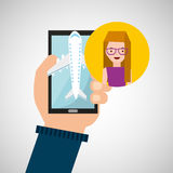 Girl glasses hand holds mobile application travel airport Royalty Free Stock Image