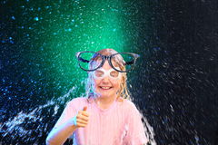 Girl with glasses have  fun Stock Images